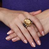 Серебряный перстень Осенний луг с кварцем-волосатиком и  эбеновым деревом