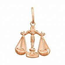 Кулон из красного золота Знак Зодиака Весы 000121528