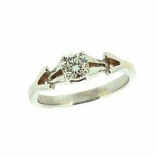 Золотое кольцо в белом цвете с бриллиантом Вивиан
