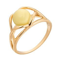 Позолоченное серебряное кольцо с переплетенными элементами и лимонным янтарем 000118973