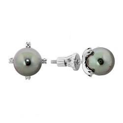 Серьги-пуссеты из белого золота с черным жемчугом и бриллиантами 000003350