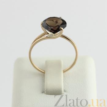 Золотое кольцо с раухтопазом Селесте 000024452