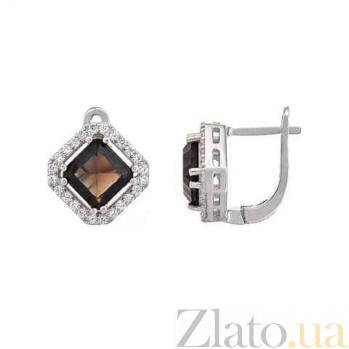 Серебряные серьги с раухтопазом Камилла AQA--E01295RT