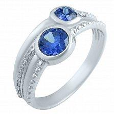 Серебряное кольцо Стеффи с синтезированным танзанитом и фианитами