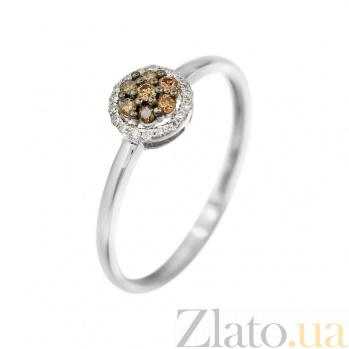 Кольцо из белого золота Ивори с коньячными и белыми бриллиантами 000081994