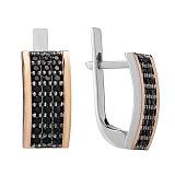 Серебряные серьги Каролина с черными фианитами