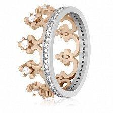 Серебряное кольцо с фианитами Королевский стиль