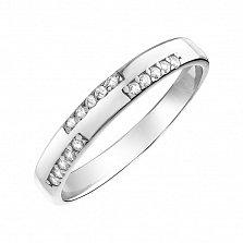Серебряное кольцо Жаклин с дорожками из кристаллов циркония