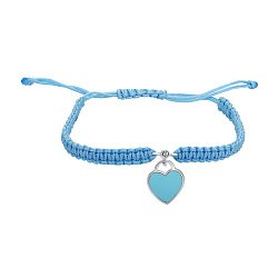 Браслет из серебра с плетеной голубой нитью, эмалью и фианитом Swarovski 000145116