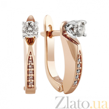 Золотые серьги с бриллиантами Измира KBL--С2313/крас/брил