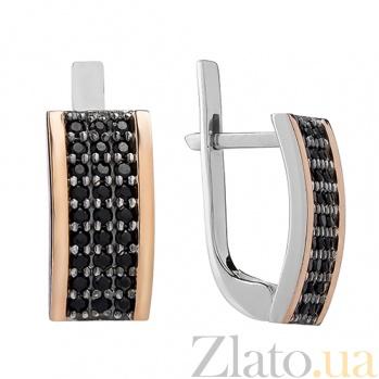 Серебряные серьги Каролина с черными фианитами BGS--548с ч