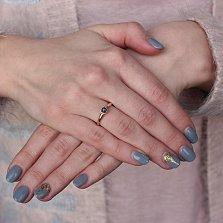 Золотое кольцо Зита с сапфиром и бриллиантами