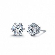 Серьги-пуссеты в белом золоте Sweet Love с бриллиантами, 0,5ct