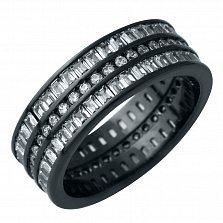 Серебряное кольцо Миранда с фианитами и черным родием