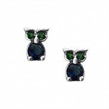 Серебряные сережки-пуссеты Умильные совята с синими и зелеными фианитами
