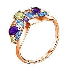 Кольцо из красного золота с аметистами, топазами, хризолитами и цитринами 000121585
