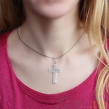 Декоративный крестик с белым цирконием Итальянский 000008106