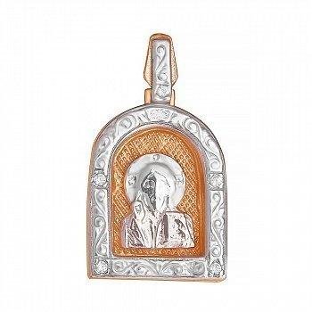 Серебряная ладанка Покровитель с позолотой 000028653