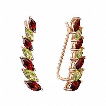 Серьги-каффы из красного золота с гранатами и хризолитами 000135223