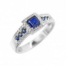 Кольцо из белого золота Водопад любви с сапфирами и бриллиантами