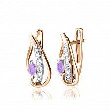 Серебряные серьги Акация с позолотой, фиолетовым и белыми фианитами