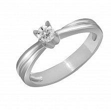 Кольцо из белого золота Клятва любви с бриллиантом