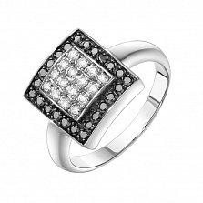 Золотое кольцо Черно-белый квадрат в белом цвете с бриллиантами