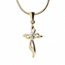 Золотой декоративный крестик с бриллиантом Мира