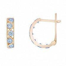 Золотые серьги Вальс с голубыми фианитами