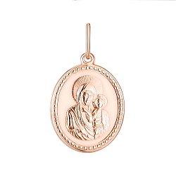 Золотая ладанка Богородица Казанская в красном цвете 000142332