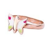 Золотое кольцо с цветной эмалью Бабочка