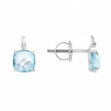 Серьги в белом золоте Элеонора с голубым топазом и бриллиантами