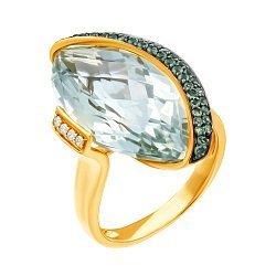 Золотое кольцо в комбинированном цвете с аметистом, гранатами и бриллиантами 000139479
