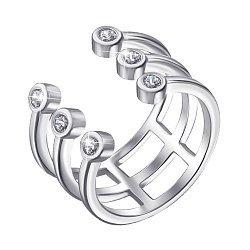 Серебряное разомкнутое кольцо с фианитами 000139809