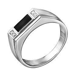 Серебряный перстень-печатка с эмалью и цирконием 000140662