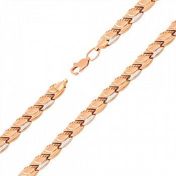 Золотой браслет в комбинированном цвете с алмазными насечками 000125625