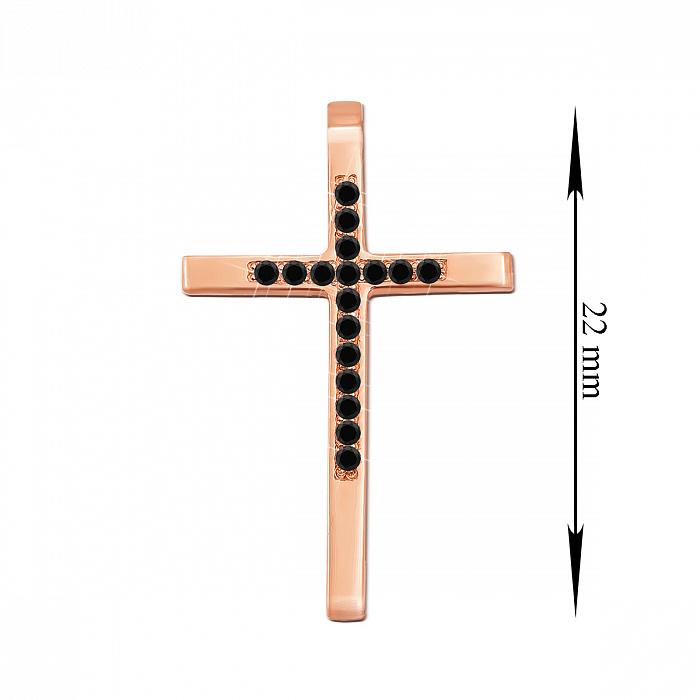 Декоративный крестик из красного золота с черными бриллиантами 000135469 000135469