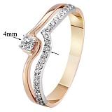 Золотое кольцо Волна с бриллиантами