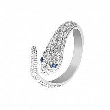 Серебряное разомкнутое кольцо Змейка с синими и белыми фианитами