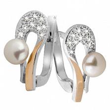 Серебряные серьги с жемчугом и золотыми вставками Поэма