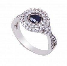 Серебряное кольцо Мила с сапфиром и фианитами
