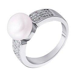 Серебряное кольцо с жемчугом и фианитами 000132561