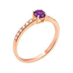 Кольцо из красного золота с аметистом и фианитами 000131258