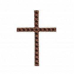 Декоративный крестик из красного золота с коньячными бриллиантами 000134379