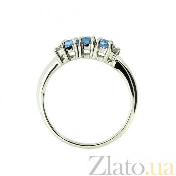Золотое кольцо в белом цвете с топазами и бриллиантами  Хелена ZMX--RT-10353w_K