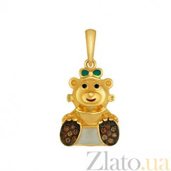 Детский кулон Мишутка из желтого золота с оранжево-красными фианитами VLT--Т340-6