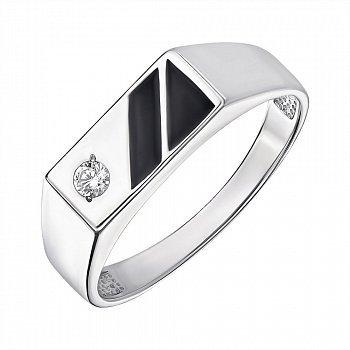 Печатка из серебра с фианитом и эмалью 000146080
