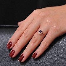 Золотое кольцо Инесса с аметистом и цирконием