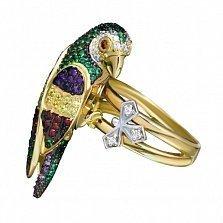 Кольцо из желтого и белого золота Тропический попугай с разноцветными фианитами