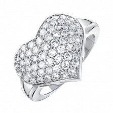 Кольцо из белого золота Сердце в усыпке бриллиантов